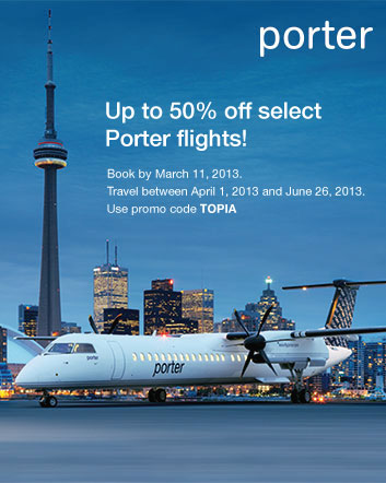 Porter Airlines launches its first Daily Deal with Buytopia.ca!