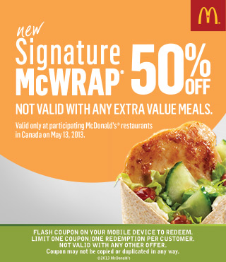 McDonalds 50 Off Signature Wrap with Mobile Coupon (May 13 Only)