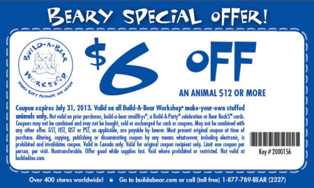 Build-A-Bear Workshop $6 Off Coupon on any Animal $12 or More (Until July 31)