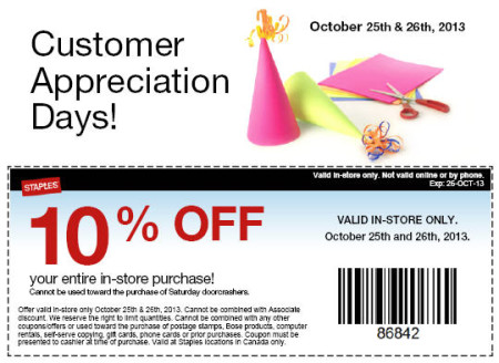 Staples Customer Appreciation Days - 10 Off Your Entire In-Store Purchase Coupon (Oct 25-26)