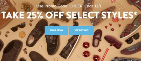 TOMS Shoes 25 Off Promo Code + Free Shipping (Nov 27- Dec 1)