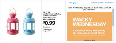 IKEA - Calgary Wacky Wednesday Deal of the Day (Aug 24) A